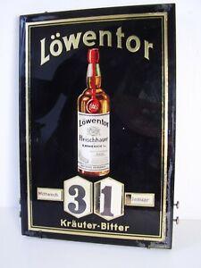 """Antiker Seltener Werbe Dreh Kalender """" LÖWENTOR """" Glas Holz vor 1945"""