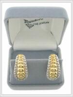 Ladies 14K Two-Toned Gold Fashion Pierced Earrings - Omega Backs