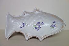 Alte Puddingform FISCH Vergissmeinnicht Sturzform Pastetenform Porzellan Shabby