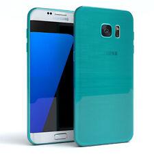 Schutz Hülle für Samsung Galaxy S7 Edge Brushed Cover Handy Case Hellblau