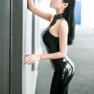 Zipper Latex Leather Jumpsuit Clubwear Women Sleeveless Wetlook Bodysuit Two-way