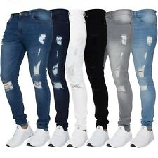 New ENZO Mens Skinny Ripped Jeans Super Stretch Frayed Denim Sizes Waist 28 - 42