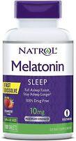 Natrol MELATONIN 10 mg 60 FAST DISSOLVE Tablets Sleep Aid  STRAWBERRY NEW