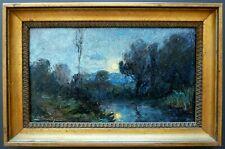 Tableau huile sur panneau signé BOUVIER, Paysage, Clair de lune, IMPRESSIONNISME