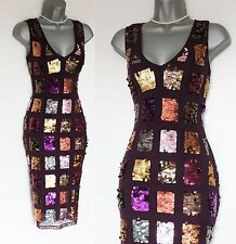 KAREN MILLEN Purple Sequined Pencil Formal Party Prom Evening Dress UK10  EU38
