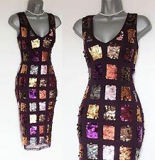 KAREN MILLEN Purple Sequined Pencil Formal Party Prom Evening Dress UK10  EU38