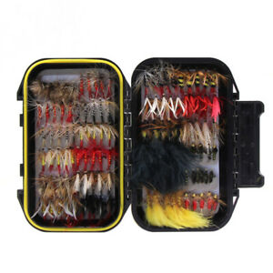 120pcs Fly Fishing Dry Flies Wet Flies Assortment Kit With Fly Box Trout Fishing
