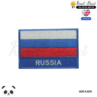 Russia National Flag With Name Embroidered Iron On Sew On PatchBadge