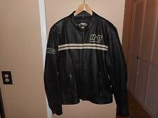 Men's Harley Davidson Throttle Black & White Perforated Leather Jacket XL RARE &