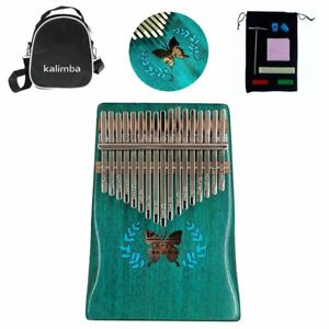 17Keys Butterfly Kalimba Thumb Piano Mbira Solid Wood Blue Xmas Gift Set w/ Bag