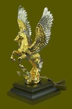 24K Gold Bronze Sculpture Winged Horse Hot Cast Classic Artwork Figure Home Deco