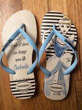 New Women Havaianas Slim Princess Disney Cinderella Sandal Beige/Blue US 3/4
