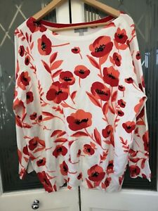 M&Co Women's Jumper Size 24 Poppy Red Round Neck Long Sleeves Sequins VGC