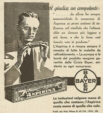 W3402 Bayer - ASPIRINA - Pubblicità 1933 - Advertising