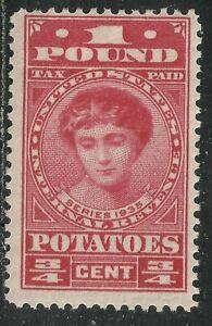 U.S. Revenue Potato Tax stamp scott ri1 - 3/4 cent / 1 pound 1935 issue mlh 7x