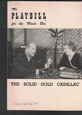 The Solid Gold Cadillac Playbill October 25 1954 Loring Smith Ruth McDevitt