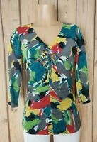 STYLE CO Women Size Small Shirt Vneck 3/4 Sleeve Ruched Front Double Layered Top