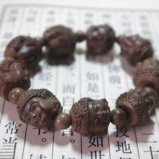 Fragrant Agar wood Carved Gautama Buddha Head Buddhist Prayer Bead Mala bracelet