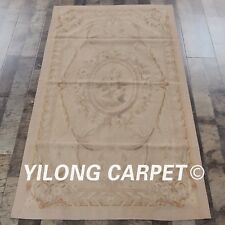 Yilong 3'x5' Hand Knotte French Aubusson Pure Wool Carpets Handmade Rugs W39C
