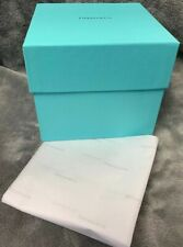 """Empty 5"""" X 5"""" X 4.75""""T Tiffany & Co. Lidded Gift Box W/ Tissue Paper, MINT"""