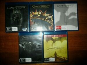 GAME OF THRONES SEASONS 1 2 3 4 5  BLU RAY  NEAR NEW CONDITION DISCS