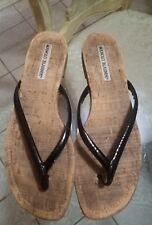 Manolo Blahnik Black patent Leather  Flat Slide Sandals Shoes 37 1/2