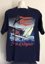 Vtg 90s Stars And Stripes Yacht T-Shirt Blue Xl Americas Cup Race