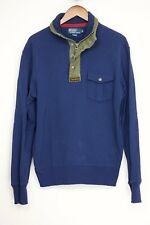 Polo Ralph Lauren Mens Shirt M Navy Blue Olive Drab Green Snap Talon Zip Collar