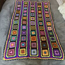 Vintage Granny Square Black Afghan Lap Blanket Throw Crochet Handmade Boho
