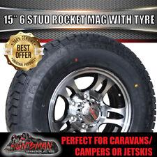 "15"" & 235/75R15 LT Tyre Rocket 6 Stud Alloy Mag Wheel Caravan Trailer Boat"