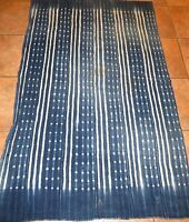 "Vintage Dogon, Mali Indigo Stitch Dyed Fabric/Hand Woven Cotton Strips/38""x60"""