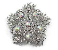 Snowflake Bridal Wedding Brooch Pin Clear Lovely Austrian Rhinestone Crystal