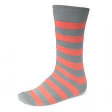 Men's Coral and Gray Striped Socks, Your Feet Won't Fail You Now