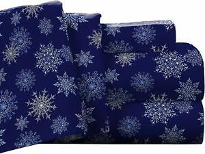 Pointehaven Flannel Deep Pocket Set With Oversized Flat Sheet, King, Snow Flakes