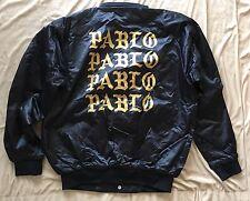 Kanye Yeezy Life of Pablo SAN FRANCISCO SF BLACK SATIN BOMBER JACKET L/S L LRG