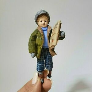 Spun Cotton Ornament. A boy with a parcel. Christmas Tree Toy. 100 % Handmade.