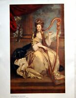 Original Old Antique Print Countess Eglinton Sir Joshua Reyns Playing Harp 1909