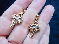 Authentic Vintage EASTER Gold Tone Rhinestone Basket Pierced Earrings