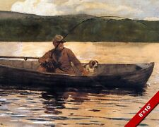 OLD MAN & HIS DOG FISHING FROM A BOAT CALM WATER PAINTING ART REAL CANVAS PRINT