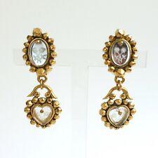 Clips d'oreille - Chantal Thomass - Métal doré et verre - 57 mm - 1980's-1990's