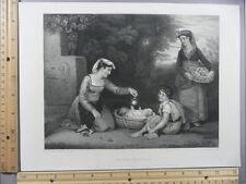 Rare Antique Original VTG An Italian Family Mother Children Engraving Art Print