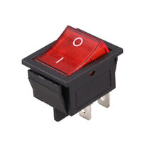 Red Light Illuminated 4 Pin DPST ON/OFF Snap in Rocker Switch 16A 20A 250V  I2S3