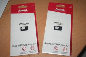 Hama Nano Sim Karten Adapter Set Handy Tablet Nadel 2 Packungen