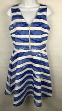 APT. 9 Dress Fit & Flare Skater Stripe Mini Dress SZ 10 BLUE & WHITE Zip Front