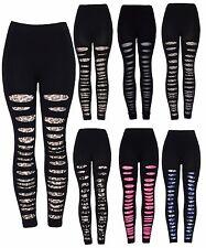 New Ladies Women's Black Fashion Leopard print Lace Ripped Leggings size 8-14