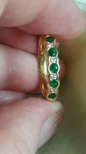 """NATURAL Diamond & Emerald """"bubble"""" set eternity/stacker ring18ct Yellow gold.N"""