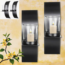 2Pcs Modern Art Metal Candle Holder Glass Cup Wall Mounted Sconce Home Decor
