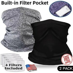 2 Pieces Gaiter with Filter Face Mask Scarf Cooling Balaclava Bandanna Headband