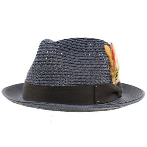 Men's Light Vented Removable Feather Derby Fedora Curled Brim Hat