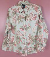 TB09099- JONES NEW YORK Women's Linen 2-Way Long Sleeve Multicolor Floral XL